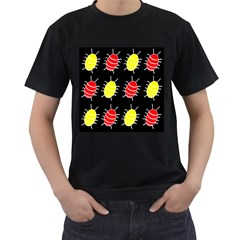 Red and yellow bugs pattern Men s T-Shirt (Black)