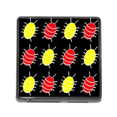 Red and yellow bugs pattern Memory Card Reader (Square)