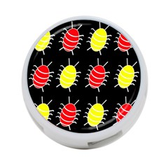 Red and yellow bugs pattern 4-Port USB Hub (One Side)