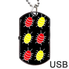 Red and yellow bugs pattern Dog Tag USB Flash (Two Sides)