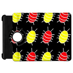Red and yellow bugs pattern Kindle Fire HD Flip 360 Case