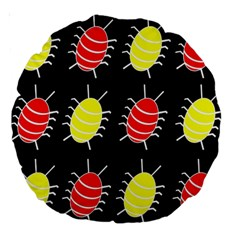 Red and yellow bugs pattern Large 18  Premium Round Cushions