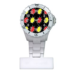 Red and yellow bugs pattern Plastic Nurses Watch