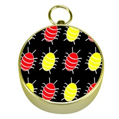 Red and yellow bugs pattern Gold Compasses