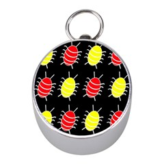 Red and yellow bugs pattern Mini Silver Compasses