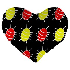Red and yellow bugs pattern Large 19  Premium Flano Heart Shape Cushions