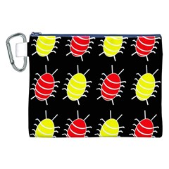 Red and yellow bugs pattern Canvas Cosmetic Bag (XXL)
