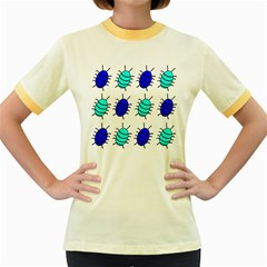 Blue bugs Women s Fitted Ringer T-Shirts