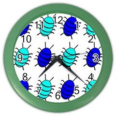 Blue bugs Color Wall Clocks