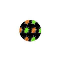 Green and orange bug pattern 1  Mini Buttons