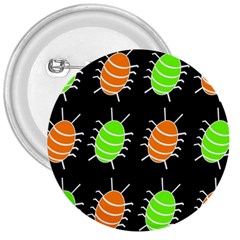 Green and orange bug pattern 3  Buttons