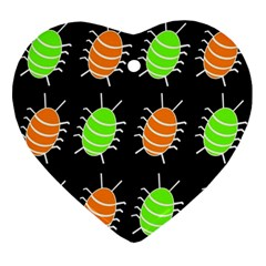 Green and orange bug pattern Ornament (Heart)