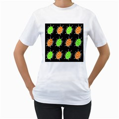 Green and orange bug pattern Women s T-Shirt (White) (Two Sided)