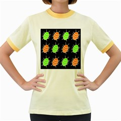Green and orange bug pattern Women s Fitted Ringer T-Shirts