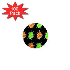 Green and orange bug pattern 1  Mini Magnets (100 pack)
