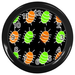 Green and orange bug pattern Wall Clocks (Black)