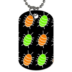 Green and orange bug pattern Dog Tag (One Side)