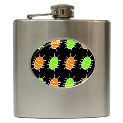 Green and orange bug pattern Hip Flask (6 oz)