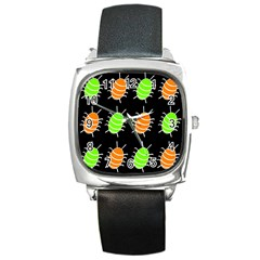 Green and orange bug pattern Square Metal Watch