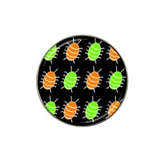 Green and orange bug pattern Hat Clip Ball Marker (4 pack)