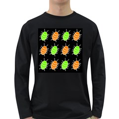 Green and orange bug pattern Long Sleeve Dark T-Shirts