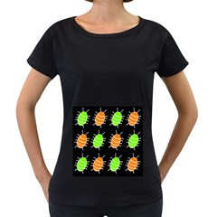 Green and orange bug pattern Women s Loose-Fit T-Shirt (Black)