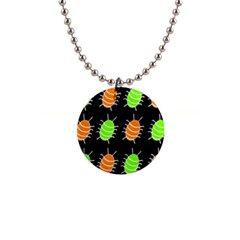 Green and orange bug pattern Button Necklaces