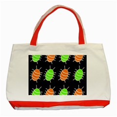 Green and orange bug pattern Classic Tote Bag (Red)
