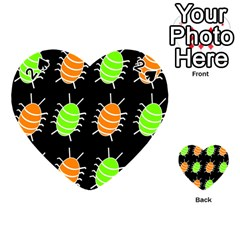 Green and orange bug pattern Playing Cards 54 (Heart)