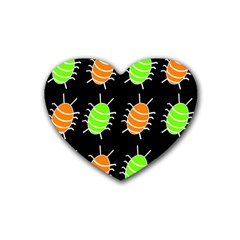 Green and orange bug pattern Rubber Coaster (Heart)