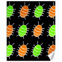 Green and orange bug pattern Canvas 11  x 14