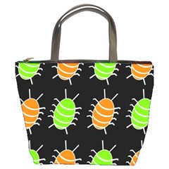Green and orange bug pattern Bucket Bags
