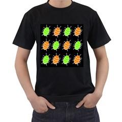 Green and orange bug pattern Men s T-Shirt (Black)