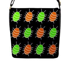 Green and orange bug pattern Flap Messenger Bag (L)