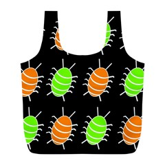Green and orange bug pattern Full Print Recycle Bags (L)