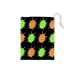 Green and orange bug pattern Drawstring Pouches (Small)