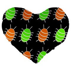 Green and orange bug pattern Large 19  Premium Flano Heart Shape Cushions