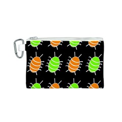 Green and orange bug pattern Canvas Cosmetic Bag (S)