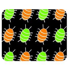 Green and orange bug pattern Double Sided Flano Blanket (Medium)