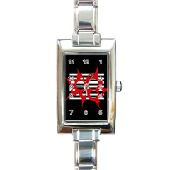 Red, black and white abstract design Rectangle Italian Charm Watch