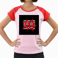Red, black and white abstract design Women s Cap Sleeve T-Shirt