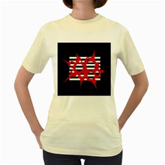Red, black and white abstract design Women s Yellow T-Shirt