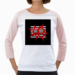 Red, black and white abstract design Girly Raglans