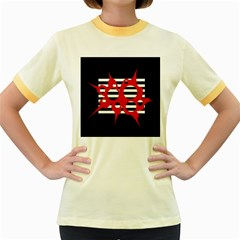 Red, black and white abstract design Women s Fitted Ringer T-Shirts