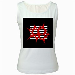 Red, black and white abstract design Women s White Tank Top