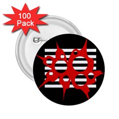 Red, black and white abstract design 2.25  Buttons (100 pack)