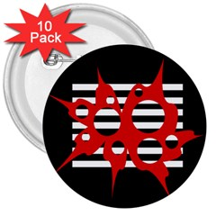 Red, black and white abstract design 3  Buttons (10 pack)