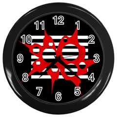 Red, black and white abstract design Wall Clocks (Black)