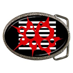 Red, black and white abstract design Belt Buckles