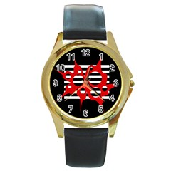 Red, black and white abstract design Round Gold Metal Watch